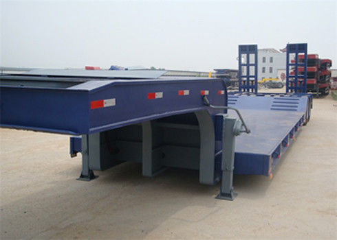 Blue 40FT Three Alxe Low Flatbed Trailer , Hydraulic Low Bed Trailer